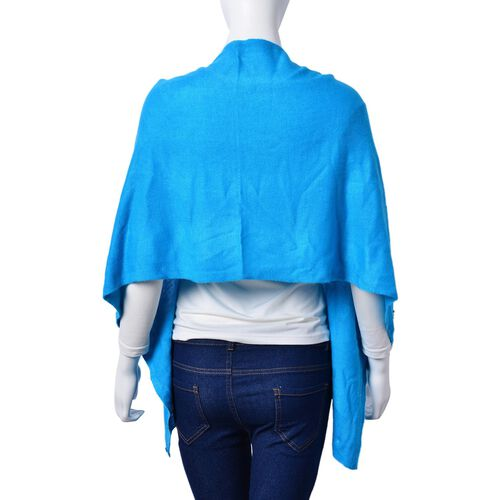 Italian Designer Inspired - Pearl Detailed Turquoise Colour Buttoned Scarf/Cardigan (Size 160x43 Cm)