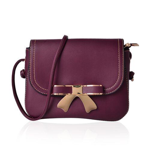 Burgundy Colour Crossbody Bag with Shoulder Strap (Size 21.5x17x6.5 Cm)