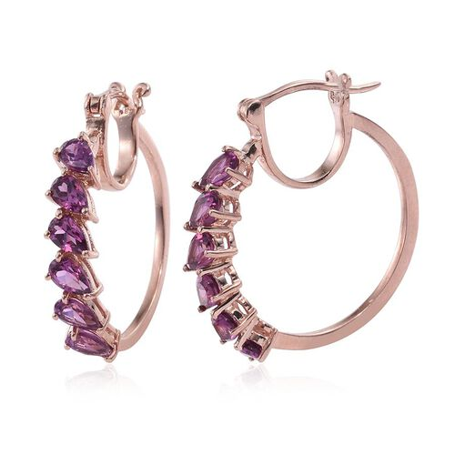 Rare Mozambique Grape Colour Garnet (Pear) Hoop Earrings (with Clasp) in Rose Gold Overlay Sterling Silver 3.000 Ct.