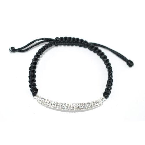 White Austrian Crystal Bracelet in Sterling Silver (Adjustable)
