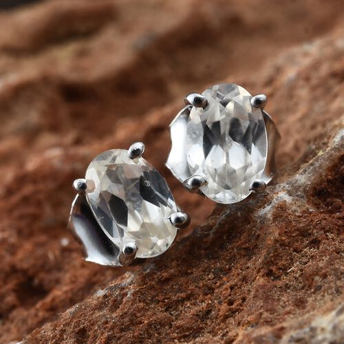 Natural Cambodian Zircon Stud Earrings (with Push Back) in Platinum Plated Silver 1.25 Ct
