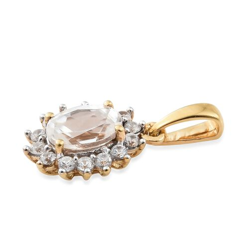 1.25 Ct Natural Cambodian Zircon Halo Pendant in Gold Plated Silver