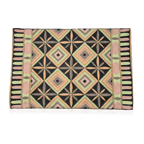 Home Textiles - Beige and Multi Colour Geomatric Pattern Woolen Rug (Size 90x60 Cm)