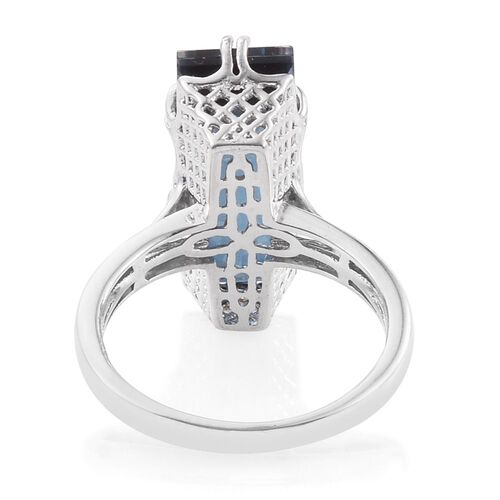 Indicolite Quartz (Bgt) Ring in Platinum Overlay Sterling Silver 10.500 Ct.