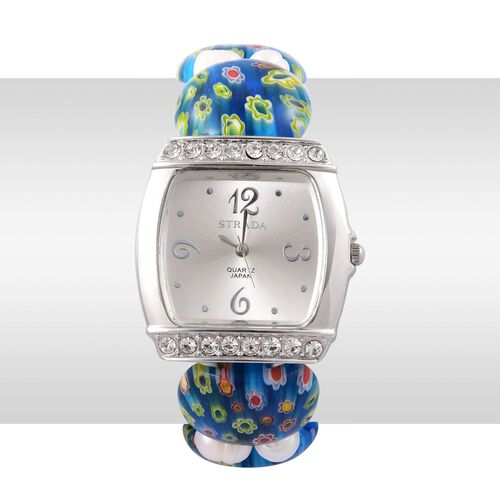 STRADA Fresh Water White Pearl Japanese Movement Silver Tone Watch with Austrian Crystal