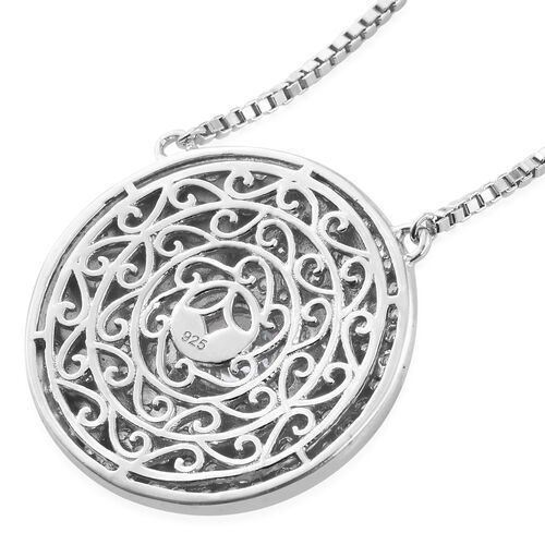 J Francis - Premium Collection Platinum Overlay Sterling Silver (Rnd) Adjustable Necklace (Size 18) Made with SWAROVSKI ZIRCONIA. Silver Wt 14.50 Gms with 123 Stones