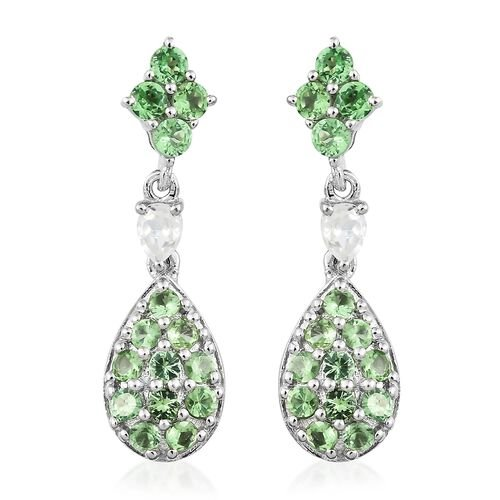 Designer Inspired-Tsavorite Garnet (Pear), Natural Cambodian Zircon Dangling Earrings (with Push Back) in Platinum Overlay Sterling Silver 2.000 Ct.