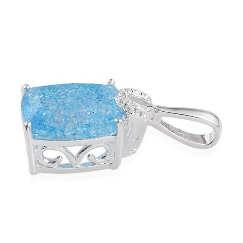 Blue Crackled Quartz (Cush) Solitaire Pendant in Sterling Silver 4.000 Ct.