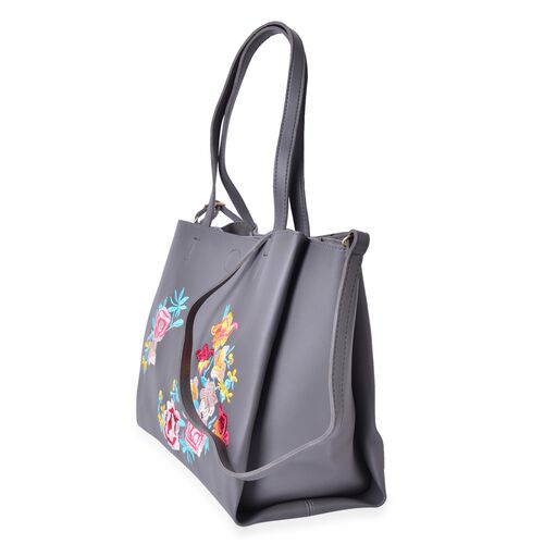Dark Grey with Multi Colour Floral Embroidered Tote Bag with External Zipper Pocket and Shoulder Strap (Size 45x33.5x26x16 Cm)