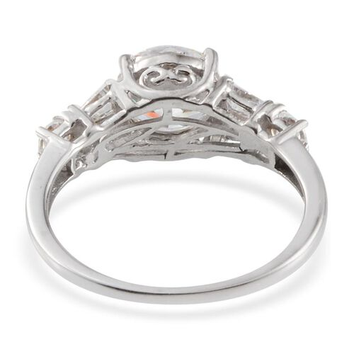 J Francis - Platinum Overlay Sterling Silver (Rnd) Ring Made with SWAROVSKI ZIRCONIA 2.580 Ct.