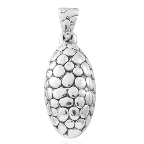 Vicenza Collection - Sterling Silver Pebble Oval Shape Pendant, Silver wt. 6.64 Gms.