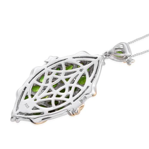 Russian Diopside (Ovl) Pendant with Chain in Platinum and 14K Gold Overlay Sterling Silver 5.500 Ct. Silver wt. 7.48 Gms.