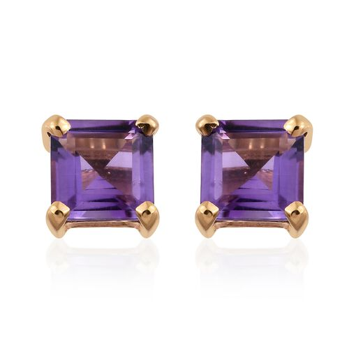 Amethyst 2 Ct Silver Stud Earrings (with Push Back) in Gold Overlay