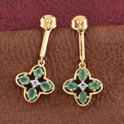 Kagem Zambian Emerald (Ovl), White Topaz Earrings (with Push Back) in 14K Gold Overlay Sterling Silver 1.500 Ct.