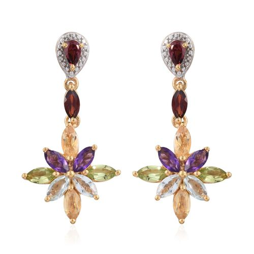 Mozambique Garnet (Mrq), Sky Blue Topaz, Hebei Peridot, Rhodolite Garnet, Citrine and Amethyst Earrings (with Push Back) in 14K Gold Overlay Sterling Silver 4.965 Ct.