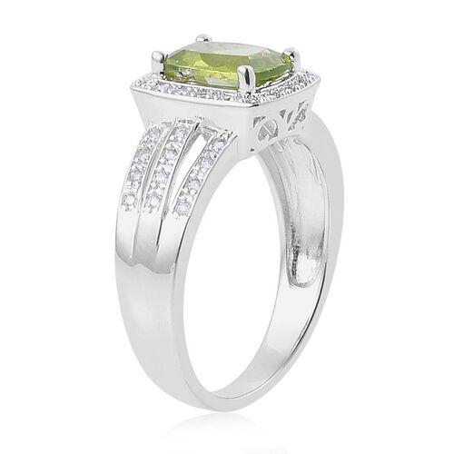 Hebei Peridot (Cush 2.00 Ct), White Zircon Ring in Platinum Overlay Sterling Silver 2.500 Ct.