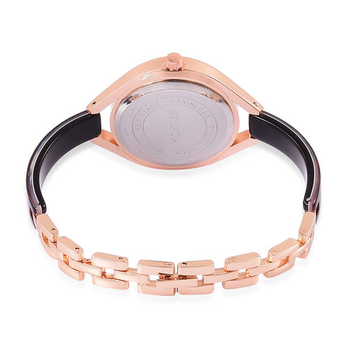 STRADA - Black and Red MOSAIC Japanese Movement Rose Gold Tone Time Piece.