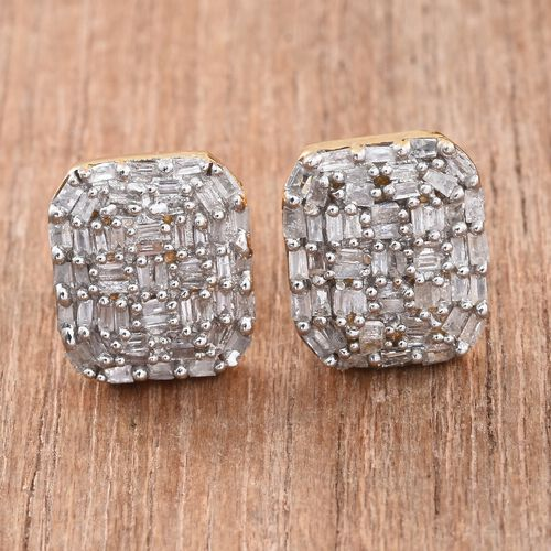 GP Diamond (Bgt), Kanchanaburi Blue Sapphire Stud Earrings (with Push Back) in 14K Gold Overlay Sterling Silver 0.530 Ct. Number of Diamonds 104.