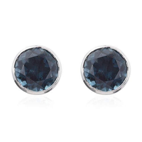 Indicolite Quartz (Rnd) Stud Earrings (with Push Back) in Platinum Overlay Sterling Silver 8.750 Ct.