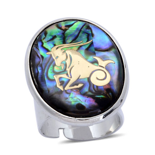 Abalone Shell Zodiac Capricorn Adjustable Ring in Silver Tone 20.000 Ct.