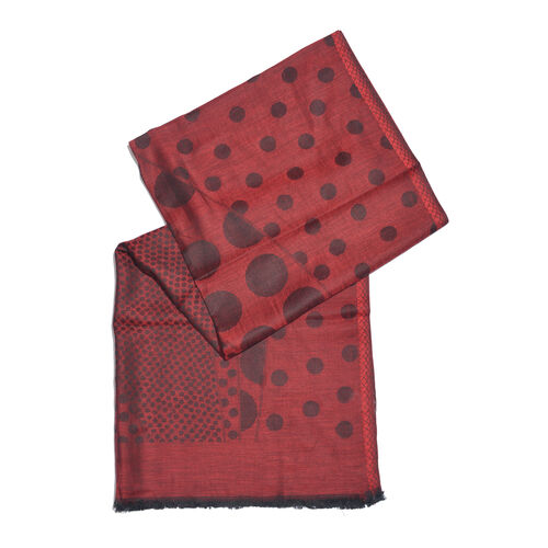 Red and Black Colour Polka Dots Pattern Reversible Jacquard Scarf with Fringes (Size 190X70 Cm)