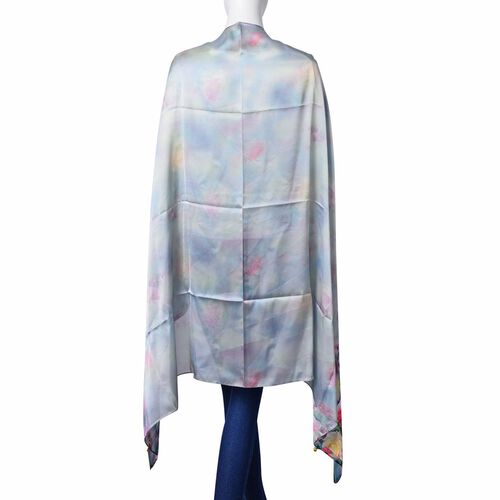 Designer Inspired- Multi Colour Rose Flower Pattern Light Silver, Green and Grey Colour Multi Functional Poncho (Size 175x98 Cm)