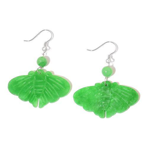 Green Jade Butterfly Hook Earrings in Rhodium Plated Sterling Silver 31.000 Ct.