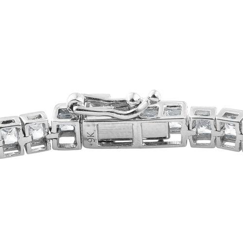 J Francis - 9K White Gold Tennis Bracelet (Size 7.5) Made with SWAROVSKI ZIRCONIA