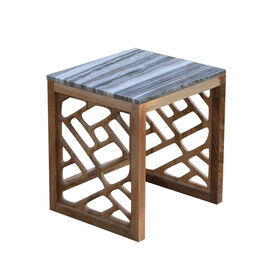 Luxury Edition - Natural Marble Side Table in Grey Colour with Mango Wood Base (Size 42X38X34 Cm)