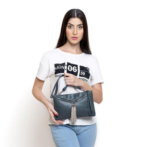 Genuine Leather Dark Grey Colour Sling Bag with External Zipper Pocket and Adjustable Shoulder Strap