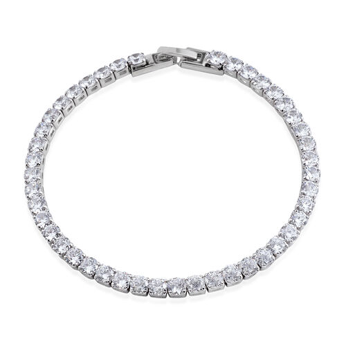 AAA Simulated Diamond (Rnd) Tennis Bracelet (Size 7.25) in Silver Bond