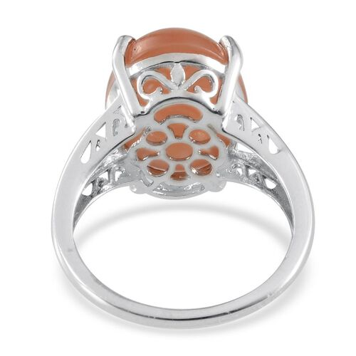 Mitiyagoda Peach Moonstone (Ovl) Solitaire Ring in Platinum Overlay Sterling Silver 9.500 Ct.