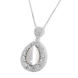 Simulated White Cats Eye and White Austrian Crystal Teardrop Pendant With Chain in Silver Tone