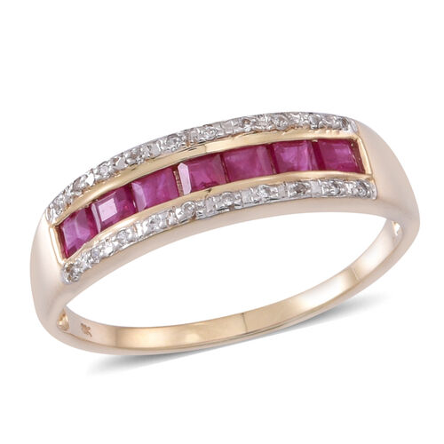 9K Y Gold AAA Burmese Ruby (Sqr), Natural White Cambodian Zircon Ring 1.000 Ct.