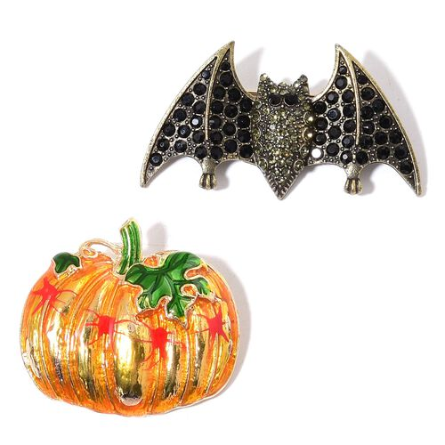 Set of 2 - Black and Grey Austrian Crystal Bat and Orange, Red and Green Colour Enameled Pumpkin Design Brooch in Gold Tone