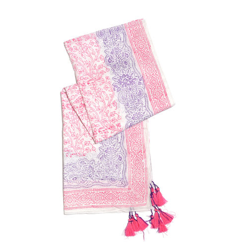 100% Cotton Pink, Purple and White Colour Hand Block Printed Pareo with Tassels (Size 180X100 Cm)