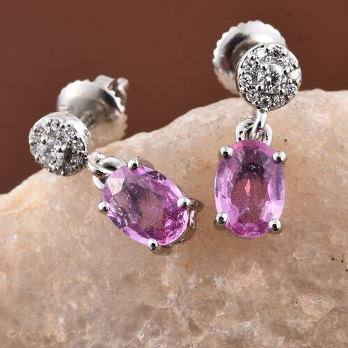 RHAPSODY 1.90 Ct AAAA Pink Sapphire and Diamond VS E-F Earrings (with Screw Back) in 950 Platinum