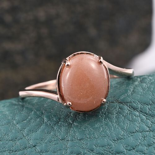 Morogoro Peach Sun Stone (Ovl) Solitaire Ring in Rose Gold Overlay Sterling Silver 4.000 Ct.