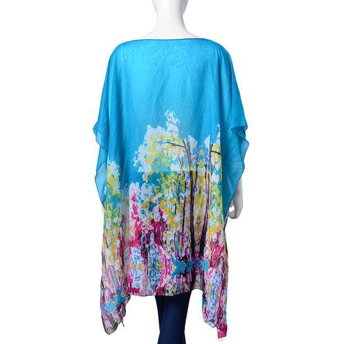 Scuba Blue, Pink and Multi Colour Abstract Pattern Poncho (Free Size)