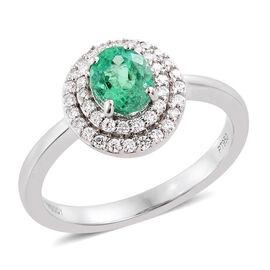RHAPSODY 950 Platinum 0.95 Ct AAAA Boyaca Colombian Emerald Ring with 0.30 Ct Diamond (VS/E-F), Platinum Wt 6 Gm