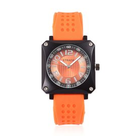 STRADA Japanese Movement Sunshine Dial Watch in Black Tone with Stainless Steel Back and Orange Silicone Strap