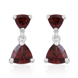 Mozambique Garnet (Trl) Earrings (with Push Back) in Sterling Silver 3.750 Ct.