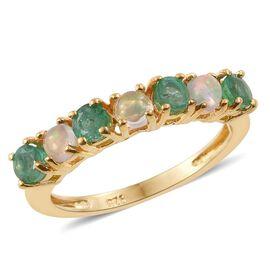 Brazilian Emerald (Rnd), Ethiopian Welo Opal Ring in 14K Gold Overlay Sterling Silver 1.000 Ct.