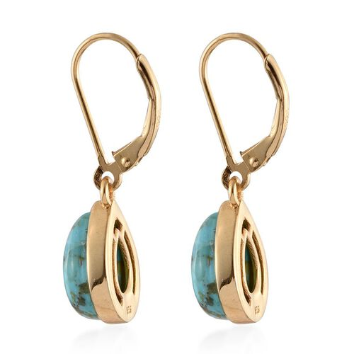 Arizona Matrix Turquoise (Pear) Lever Back Earrings in 14K Gold Overlay Sterling Silver 4.500 Ct.