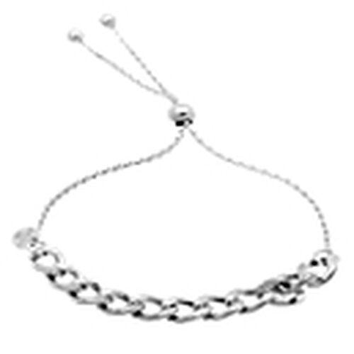 JCK Vegas Collection Sterling Silver Adjustable Curb Bracelet (Size 6 to 7), Silver wt 4.80 Gms.