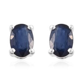 Kanchanaburi Blue Sapphire (Ovl) Stud Earrings (with Push Back) in Sterling Silver 1.000 Ct.