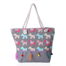 Dogs Pattern Tote Bag with Multi Colour Tassels (Size 48x33x33x15.5 Cm)