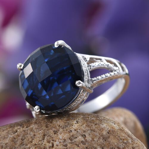 Ceylon Colour Quartz (Rnd) Solitaire Ring in Platinum Overlay Sterling Silver 8.000 Ct.