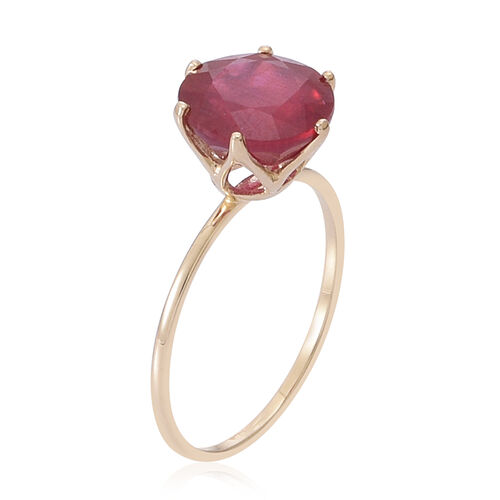 9K Y Gold African Ruby (Rnd) Solitaire Ring 4.000 Ct.
