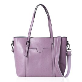 Designer Inspired- 100% Genuine Leather Purple Colour Tote Bag with Removable and Adjustable Shoulder Strap (Size 31x27x12 Cm)